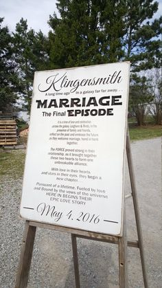 """Personalized Carved Wooden Sign – """"MARRIAGE The Final Episode … Star Wars"""" – funny wedding pictures Wedding Signs, Our Wedding, Dream Wedding, Wedding Ideas, Wedding Stuff, Decor Wedding, Wedding Themes, Wedding Movies, Wedding Pictures"""