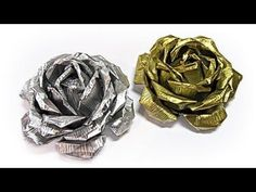 Paper roses and butterflies - ENG Series Tin Foil Crafts, Aluminum Can Crafts, Metal Crafts, Diy Crafts, Diy Rose, Soda Can Crafts, Tin Flowers, Metal Embossing, Pop Cans