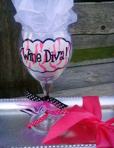 maybe change to Wine 30 Wine Glass Crafts, Wine Craft, Wine Bottle Crafts, Mason Jar Crafts, Decorated Wine Glasses, Hand Painted Wine Glasses, Wine Glass Designs, Wine Painting, Homemade Gifts
