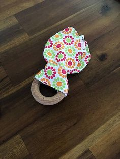 Wooden Teething Ring - Cotton Bunny Ears - Floral Wooden Teething Ring, Baby Accessories, Ears, Bunny, Boutique, Unique Jewelry, Handmade Gifts, Rings, Floral