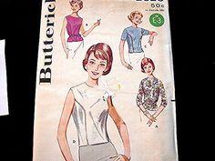 Vintage 1960s Misses Top Blouse Pattern by PatternsFromThePast