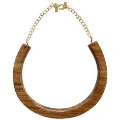 Pre-owned Necklace made of wood ($275) ❤ liked on Polyvore featuring jewelry, necklaces, brown, wooden necklaces, kenneth jay lane necklace, polish jewelry, thick chain necklace and wood necklace