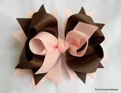 Brown and Pink Hair bow for girls Stacked by PoshPrincessBows1