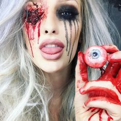 Stress And Impress: Beste Halloween Transformation Ideen Creepy Makeup, Sfx Makeup, Costume Makeup, Makeup Art, Makeup Ideas, Halloween Makeup Looks, Halloween Looks, Scary Halloween, Halloween Costumes