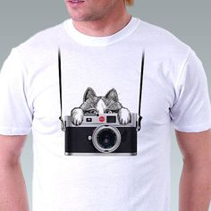 Camera Shirt Retro Camera T-Shirt Vintage Camera Leica Crazy Kitten Cat Photographer Mens T-shirt - White Tee - in Sizes S, M, L, XL, XXL