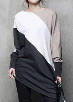 #rotita.com - #unsigned Batwing Sleeve Asymmetric Hem Color Block T Shirt - AdoreWe.com
