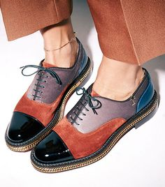 """@Who What Wear - """"There is something so inherently effortless about somebody who can rock a tuxedo, especially wearing little oxford loafers."""" On Jones: Christian Louboutin Latcho Mixed-Media Oxfords ($1375)."""