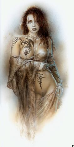 Love it... tattoos and piercings - Art by Luis Royo #female, #Body, #Erotic