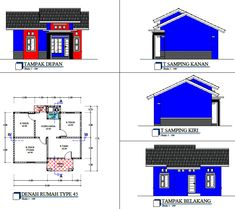 Denah Rumah Dan Tampak - Kreasi Rumah Home Design Plans, Floor Plans, House Design, How To Plan, Architecture, Modern, Arquitetura, Trendy Tree, House Design Plans