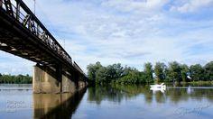 Ponte Machado da Costa e Rio Iguaçu em Porto União - Santa Catarina - Brasil.