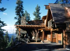 Reclaimed redwood home @ Tahoe  wood came from a Fort Bragg, CA mill