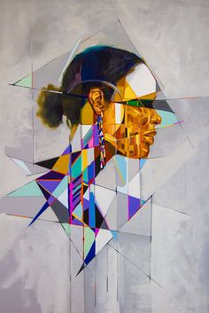 Who - Samuel Rodriguez What - geometric portrait Why - bold colour and sharp shapes and angles Cubist Portraits, Abstract Portrait, Abstract Paintings, Identity Art, A Level Art, Art Portfolio, Geometric Art, Public Art, New Art