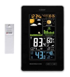 La Crosse® Vertical Wireless Forecast Station features dynamic color forecast icons and tracks indoor/outdoor temp & humidity. Atomic Time, Plastic Manufacturers, Weather Instruments, Weather Data, Planning Your Day, La Crosse, Temperature And Humidity, Moon Phases, Digital Alarm Clock