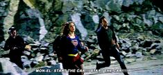 "A lighter Kara/Mon-El moment after the intensity of 2x10. I love how Kara's just super (no pun intended) focused on running, but Mon-El still has breath to half-jokingly screech, ""START THE CAR!!!"" (Not my gif, found on google, can't figure out what awesome person created it, but I love them.) 