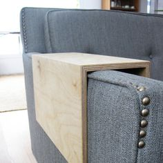 DIY INSP // Couch Arm Wrap - PLYWOOD reclaimed wood arm drink rest table for couch / sofa via Etsy