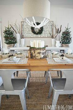 Neutral & natural rustic Christmas dining room - lizmarieblog.com