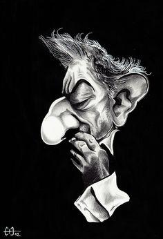 Caricature de Serge Gainsbourg - encre de chine, crayon gras noir et posca blanc - par Guillaume Néel