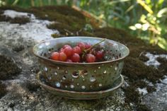 I love how the potter made all the holes on this bowl different sizes. It makes the bowl look more fun and alive.