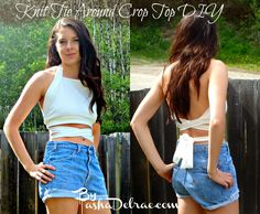 Knit Tie Around Top DIY!  It can also be made as a workout top or bikini top!  You can make the neckline lower and adjust the width of the straps :)