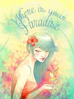 Paradise, colibri, flower, tropical M.Mar García