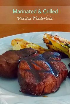 The Life Loves of Grumpy's Honeybunch: Grilled Marinated Venison Tenderloin - and a camera giveaway! Lean proteins can be great for crohn's. Iron rich, but low fat so as not to irritate the intestines. Venison Marinade, Cooking Venison Steaks, Venison Recipes, Grilling Recipes, Cooking Recipes, Cooking Kale, Marinade Sauce, Venison Meat, Soy Sauce