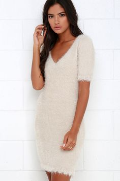 Fuzzy Light Beige Bodycon Dress