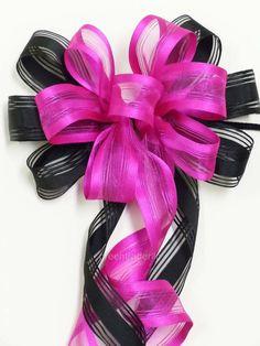 Pink & Black Wedding Pew Bow by greentraderllc,