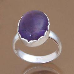 925 SOLID STERLING SILVER AMETHYST RING 5.16g DJR9834 SZ-7 #Handmade #Ring
