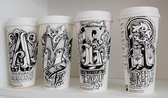 Hand Drawing Lettering Art on Coffee Cups by Rob Draper