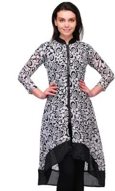 Ladies, Mens and Kids Fashion at Best Price: Goergette Printed Black Kurti Rs. 498