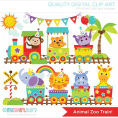 Zoo Train premium vector clipart for personal and commercial use. FILE FORMATS: 1 x EPS Vector File (Illustrator SVG Vector Cut Files PNG Files (High resolution, transparent) Train Clipart, Train Vector, Vector Clipart, Safari Animals, Animals And Pets, Baby Animals, Cutest Animals, Wild Animals, Childhood