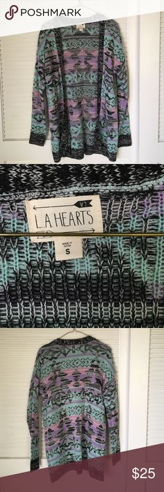 La Hearts Printed Cardigan Sweater never worn LA hearts cardigan sweater. Turquoise lavender pink and black fair isle print. Urban Outfitters Sweaters Cardigans