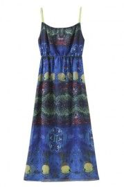 ROMWE Lace Strapped Underwater World Pleated Dress