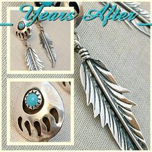 Vintage NATIVE American TURQUOISE Earrings Sterling Silver NAVAJO Bear Paw Symbol c.1970's!