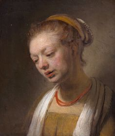Rembrandt van Rijn, Young woman with a red necklace, oil on wood, from the Collection of Rita and Frits Markus Caravaggio, Fine Art Prints, Framed Prints, Canvas Prints, Leiden, Rembrandt Paintings, Dutch Golden Age, Red Necklace, Pearl Earrings