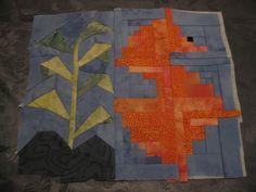 weer een begin van een nieuwe quilt, zeepaardje is opgebouwd uit 6 logcabin blokken