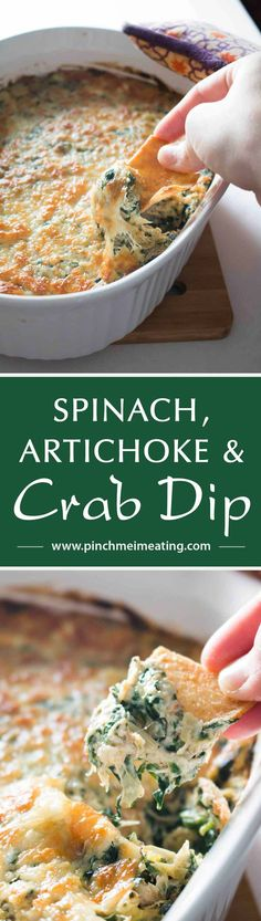 This hot baked spinach, artichoke, and crab dip is the perfect crowd-pleasing party dip - easy to make ahead, perfectly cheesy, and full of the good stuff.   www.pinchmeimeating.com