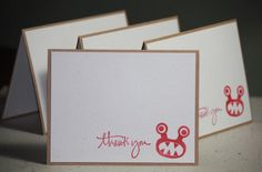 Set of Four Handmade Hand Stamped Thank You Cards by strandedpaper,