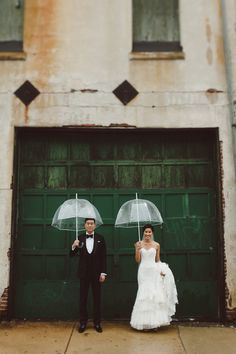 Bubble umbrellas are perfect when there's rain on your wedding day!
