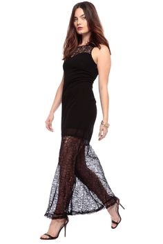 ff0fb1677b0f Black Little Lace Details Maxi Dress   Cicihot sexy dresses