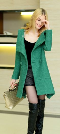 Cashmere A-line Winter Coat, womens coats, women's coat, coat with Hood, khaki coat, navy blue coat, green coat, winter asian coat, korean fashion, asian green coat, asian cashmere coat, wool coats in green color, YRB style a-line, hood, yrb0564 new, arrivals