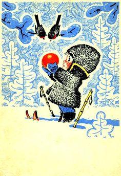 Cute Christmas Card with small boy. Soviet Christmas card, 1960.