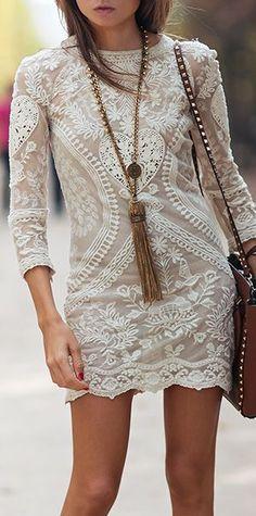 Floral detail lace mini dress