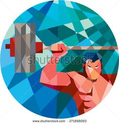 Low polygon style illustration of a weightlifter snatching grabbing lifting barbell with facing front set inside circle shape.