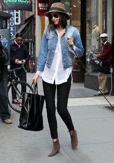 hat, sunglasses, jacket, denim, booties, fashion