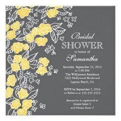 Yellow Floral Bridal Shower Invitation #yellowbridalshower #floral