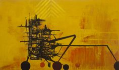 John Westmark, Janga 32 x 60 inches acrylic and ink on wood panel