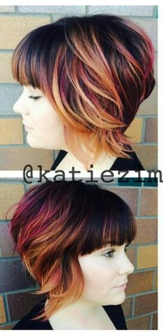 Blonde and burgundy streaked dyed hair - Autumn colors