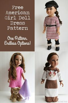 "Free basic straight dress pattern for 18"" dolls"