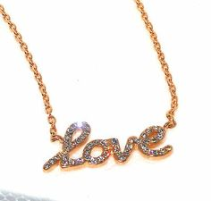 "LOVE Pink Gold White Crystal Stainless Steel Necklace 20"" CHRISTMAS http://stores.ebay.com/JEWELRY-AND-GIFTS-BY-ALICE-AND-ANN"